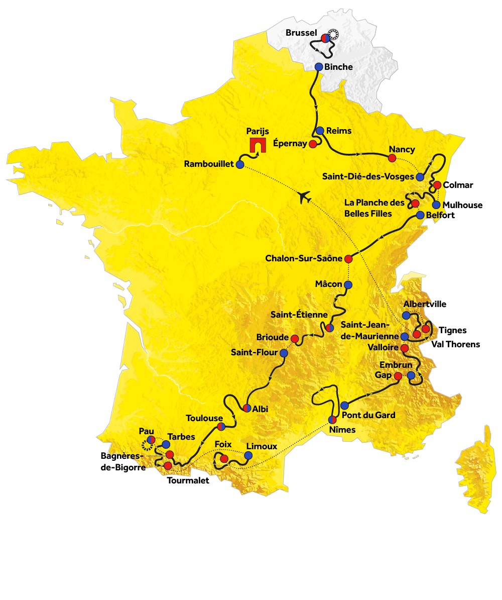 Routekaart Tour de France
